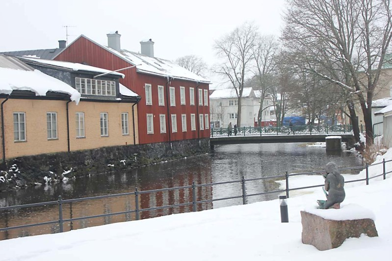 Foto av Norrtäljeån i februari 2013